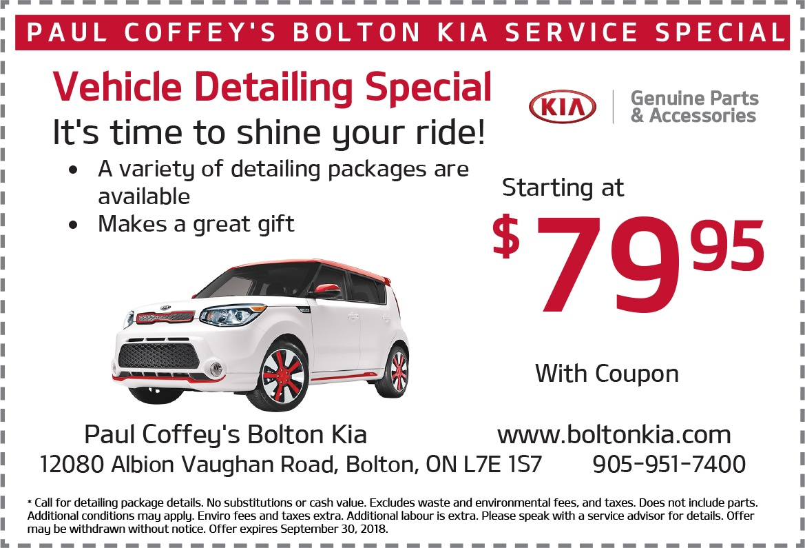 Bolton Kia Detailing Offer