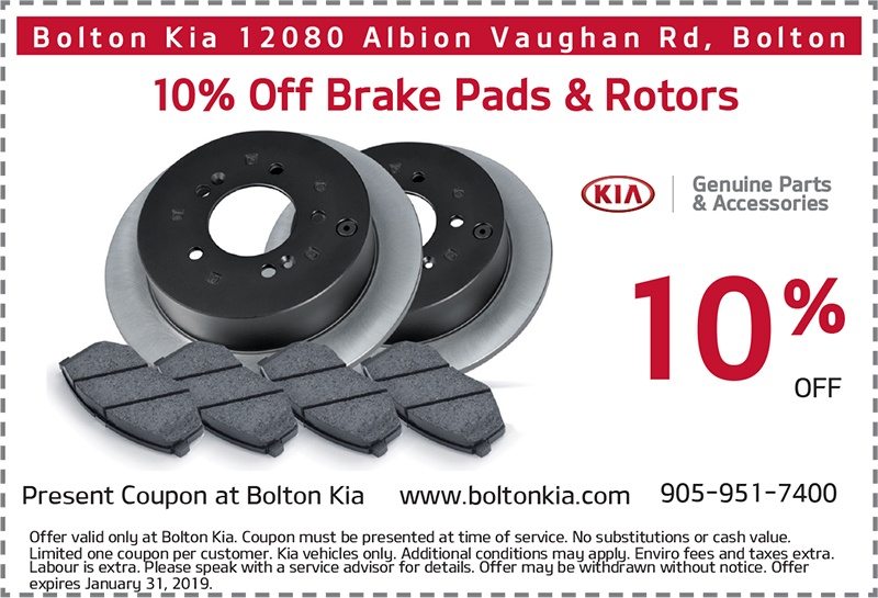 Bolton Kia – 10% Off Genuine Kia Brake Pads and Rotors